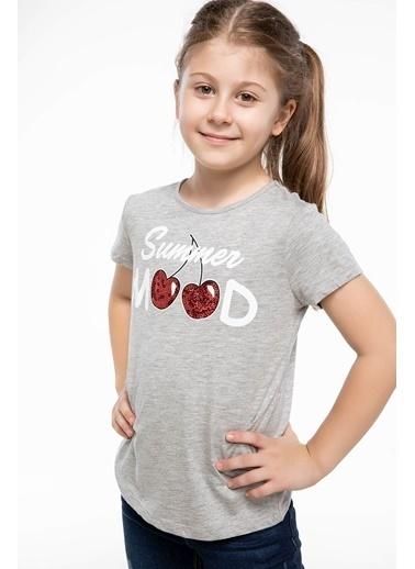 DeFacto Baskılı T-shirt Gri